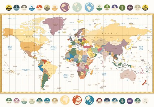 Vintage color political world map with round flat icons premium vintage color political world map with round flat icons gumiabroncs Images