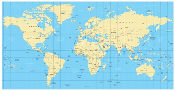 Highly detailed world map countries cities water objects premium highly detailed world map countries cities water objects gumiabroncs Choice Image