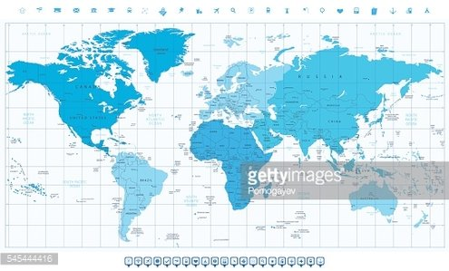 World map with different colored continents in colors of blue world map with different colored continents in colors of blue gumiabroncs Choice Image