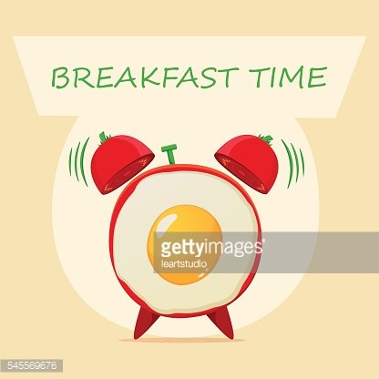 ried eggs and alarm clock