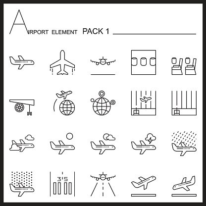 Flughafen-Element Linie Symbol Set.Pack 1. Mono-Pack. Graphischen Vektor-Logo-set