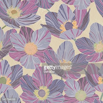Seamless pattern beautiful violet flowers, beige background, stained glass style