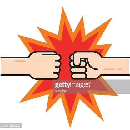 Two fists bumping together vector, hands in air punching