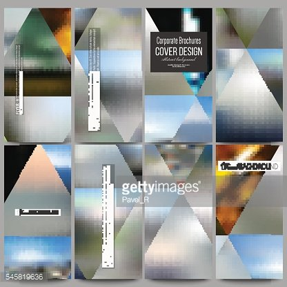 Set of modern flyers. Abstract multicolored background, blurred nature landscapes