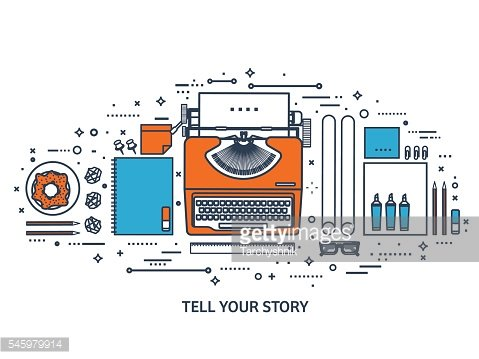 Vector illustration. Flat typewriter.Laptop. Tell your story. Author. Blogging