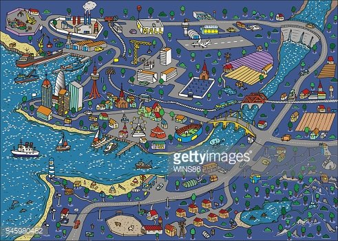 Doodle town at night. Map drawn by hand. Vector. Isolated.