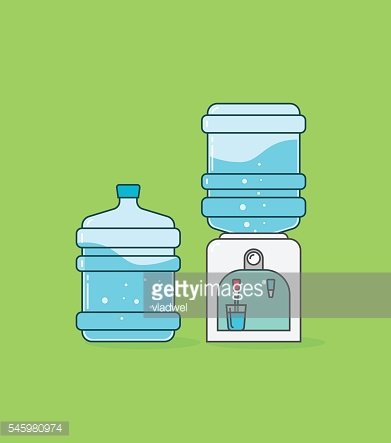 Water cooler dispenser vector, bottle with waves and bubbles