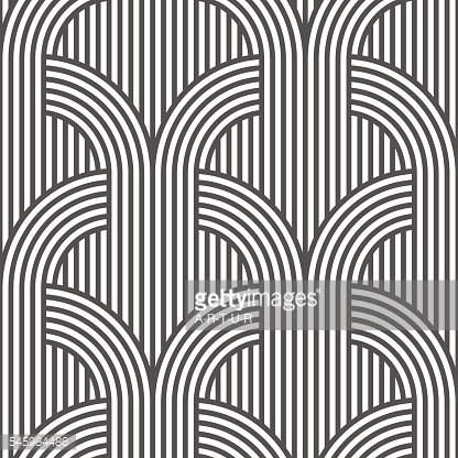 Black and white geometric striped seamless pattern - variation 5