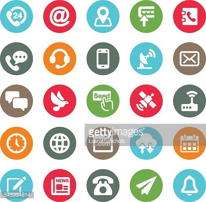 Communication and Contact Circle Colour Harmony icons | EPS10