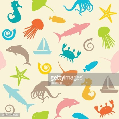 Seamless pattern with sealife silhouettes