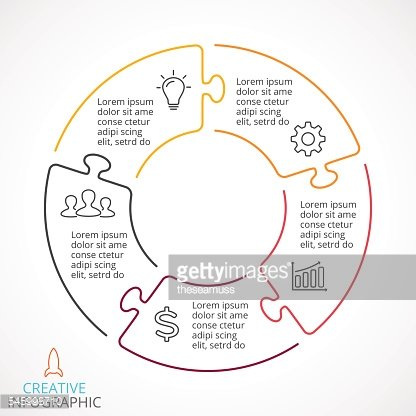 Vector circle arrows puzzle infographic, cycle diagram, linear graph, presentation