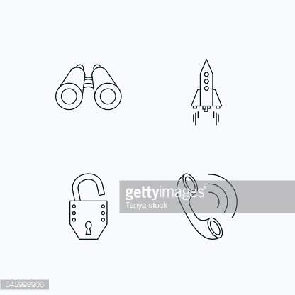 Phone, startup rocket and search icons.