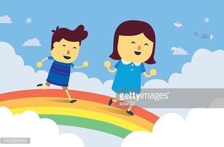 Boy and girl play chasing on rainbow bridge
