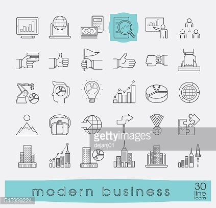 Collection of modern business icons.
