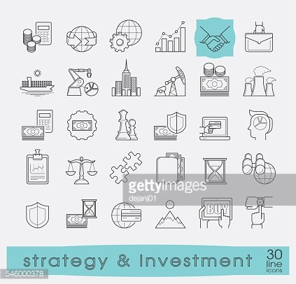 Set of premium quality line strategy and investment icons.