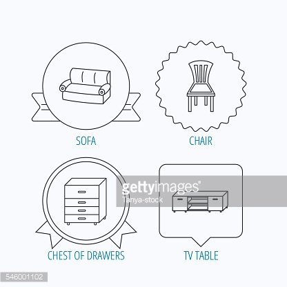 Sofa, chair and chest of drawers icons.