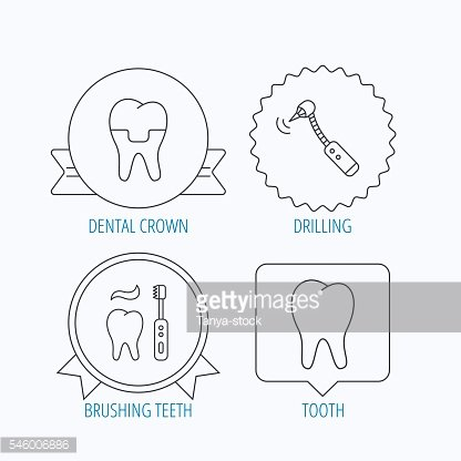 Brushing teeth, tooth and dental crown icons.