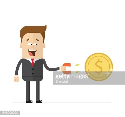 Happy businessman with a magnet to attract money. Isolated illustration
