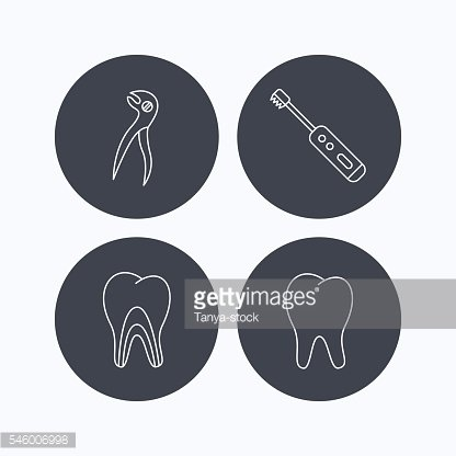 Tooth, electric toothbrush and pliers icons.