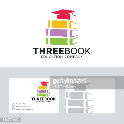 Three book vector logo