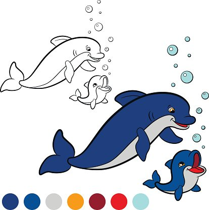 Coloring Page Color Me Dolphin Mother Dolphin With Her Baby