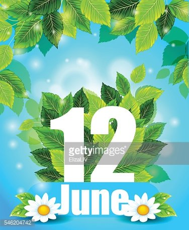 Quality background with green leaves. Spring poster June 12 with