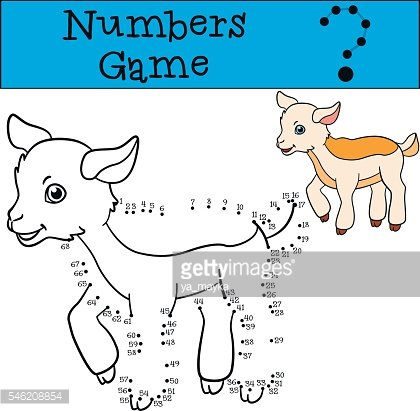Educational games for kids: Numbers game. Little cute baby goat.