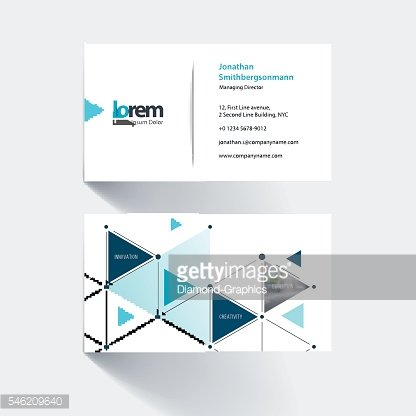 Business card template with triangles and arrows for an