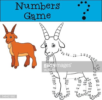 Educational games for kids: Numbers game with contour. Cute goat