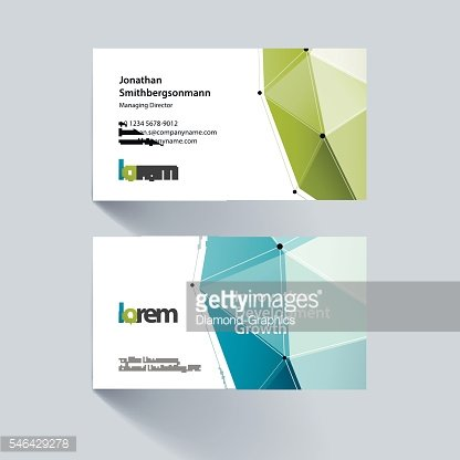 Vector business card template with triangles in polygonal style
