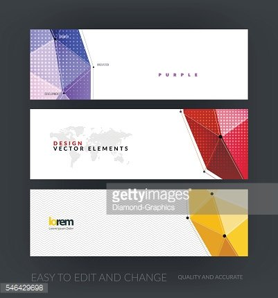 Vector set of modern website banners with polygonal background w