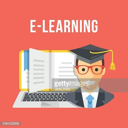 E-Learning, online education concepts. Flat design vector illustration