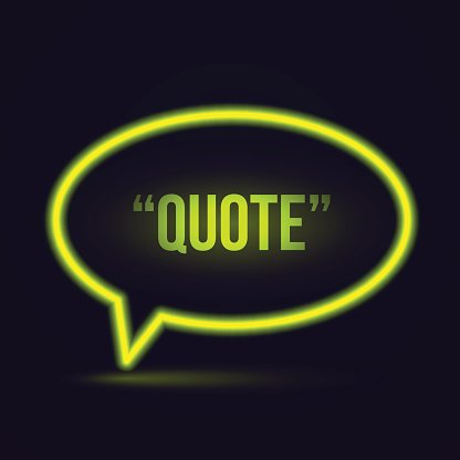 Glowing neon speech bubble icon for text quote