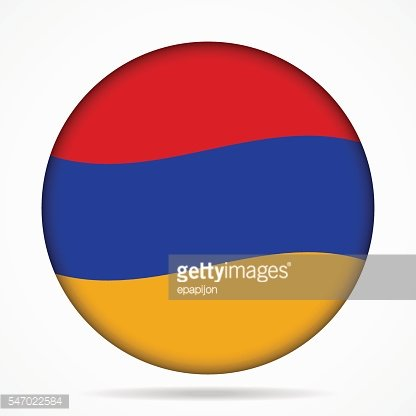 button with waving flag of Armenia
