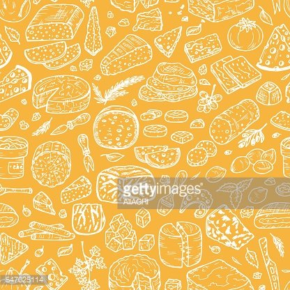 Hand Drawn Doodle Cheese Vector Seamless pattern