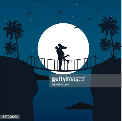 man woman couple hug silhouette with moon in the background