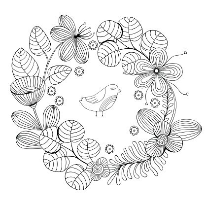 Beautiful Monochrome Flowers Round Frame With Vector premium
