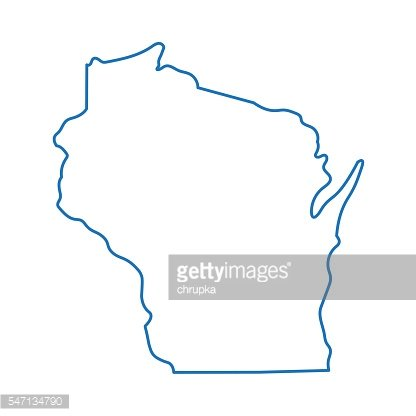 abstract outline of Wisconsin map