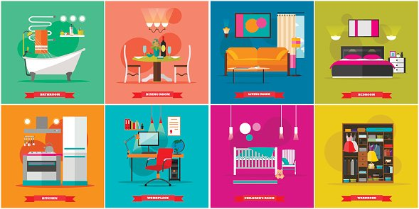 Home Interior Vector Illustration In Flat Style House