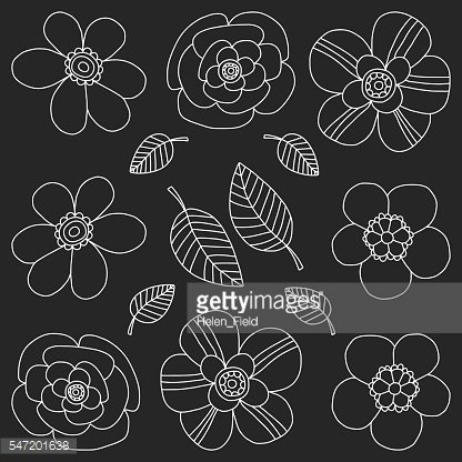 Vector doodle set with tropical plants