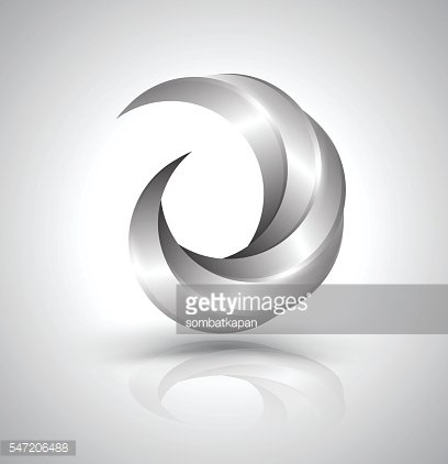 Vector graphic abstract silver swirl symbol.