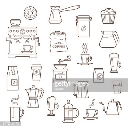 Coffee outline icon set