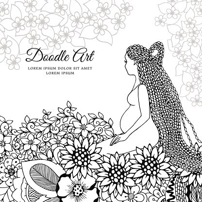 Vector Illustration A Pregnant Woman Sitting In Flowers Premium