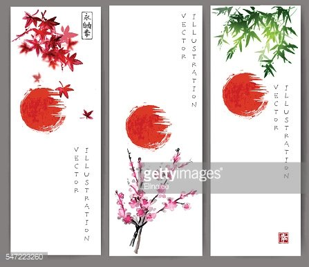 Three banners with red sun, maple, bamboo and oriental cherry
