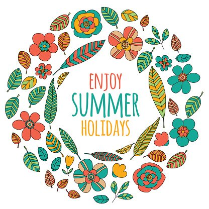 Enjoy summer holidays quote with doodle flowers Clipart Image