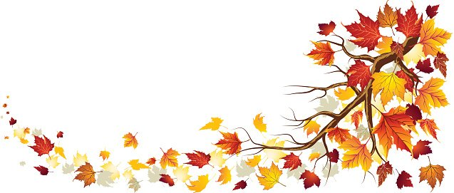 Branch With Torn Wind Autumn Leaves Clipart Image