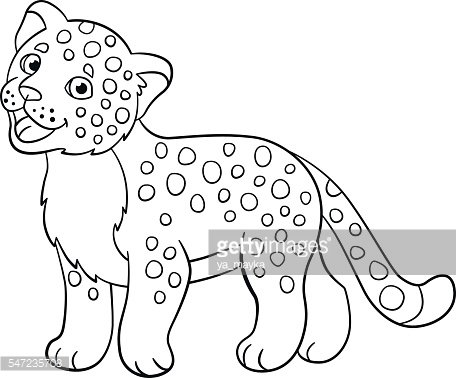 Coloring Little Cute Baby Jaguar Premium Clipart