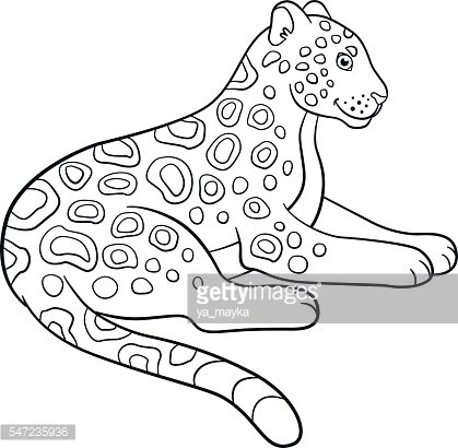 Coloring Cute Jaguar Premium Clipart