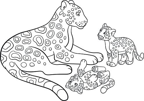 Coloring Mother Jaguar With Her Cute Premium Clipart