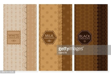 Set of chocolate packaging in trendy linear style